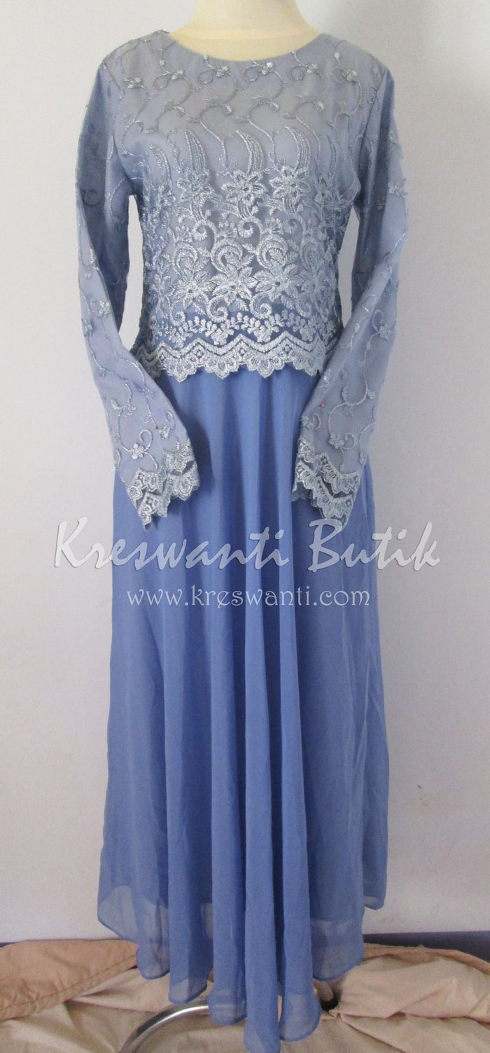 Jual baju gamis femina gaun pesta pengantin muslimah modern biru1