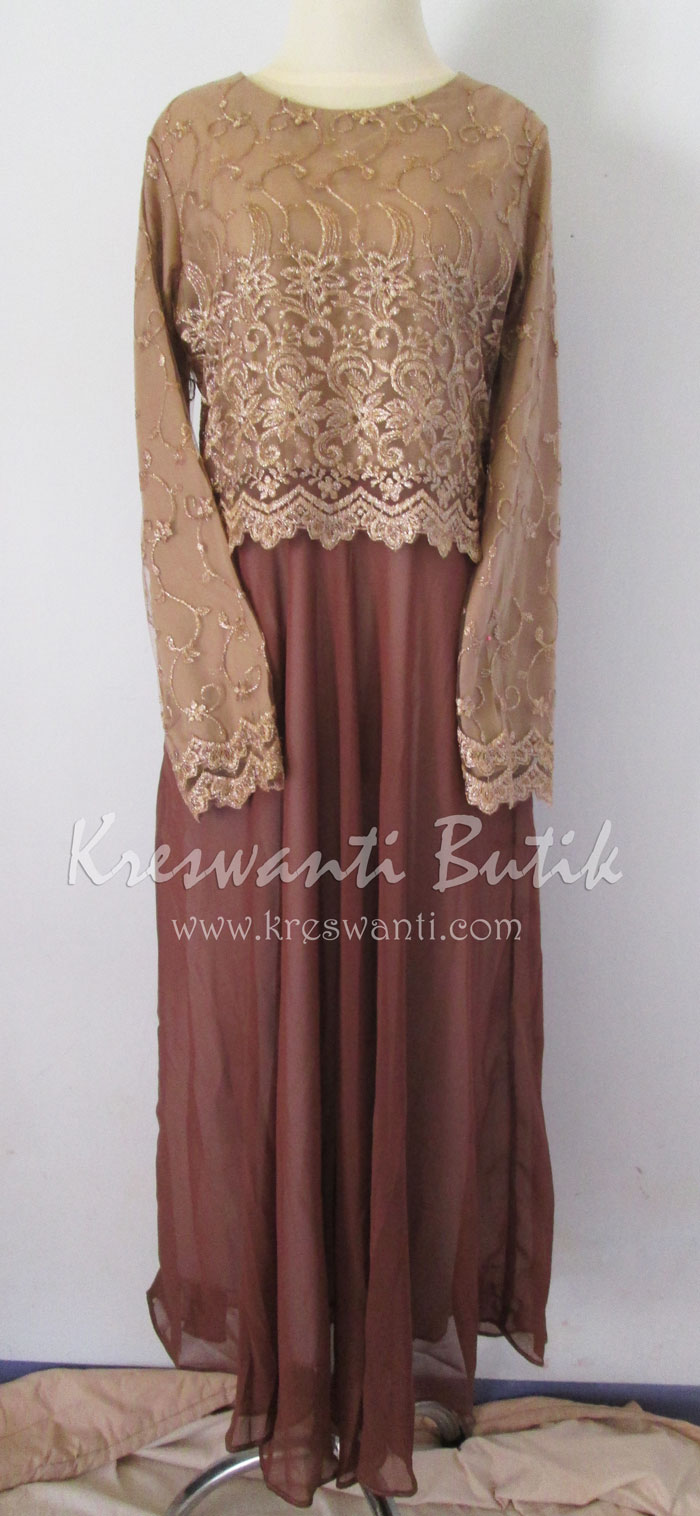 jual baju gamis femina gaun pesta pengantin muslimah modern coklat1