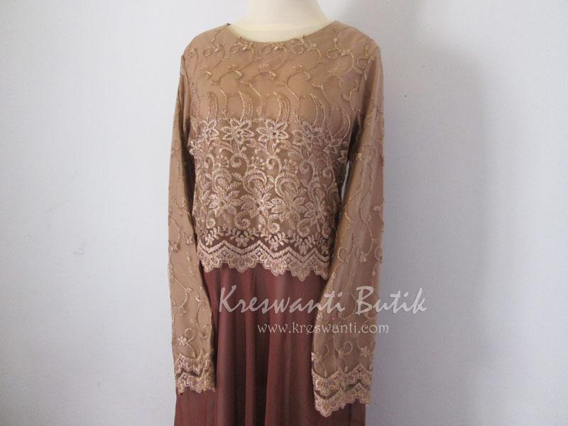 jual baju gamis femina gaun pesta pengantin muslimah modern coklat2
