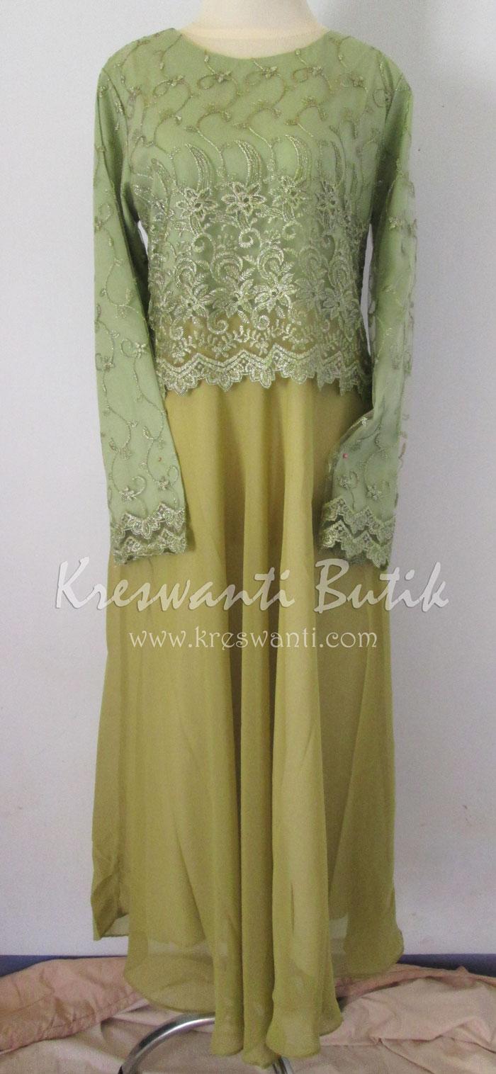 jual baju gamis femina gaun pesta pengantin muslimah modern hijau1