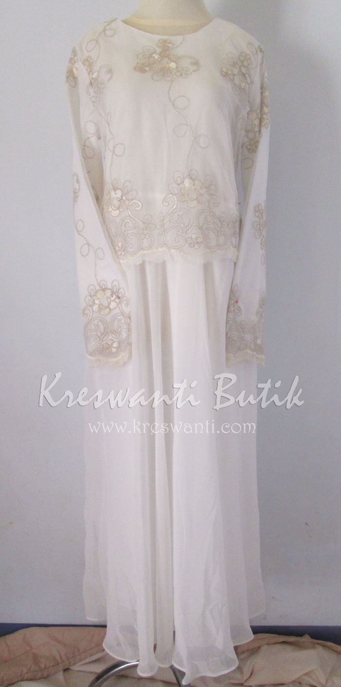 jual baju gamis femina gaun pesta pengantin muslimah modern putih1