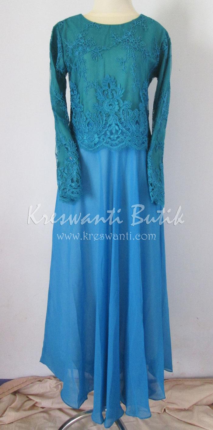 jual baju gamis modis gaun pesta pengantin muslimah modern biru tosca1