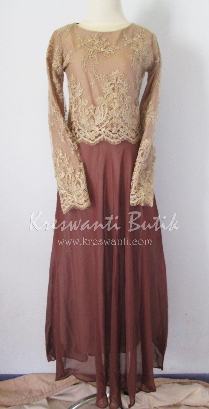 jual baju gamis modis gaun pesta pengantin muslimah modern brown1