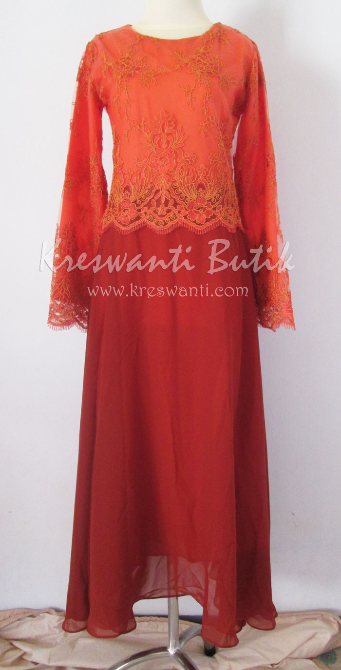 jual baju gamis modis gaun pesta pengantin muslimah modern orange1
