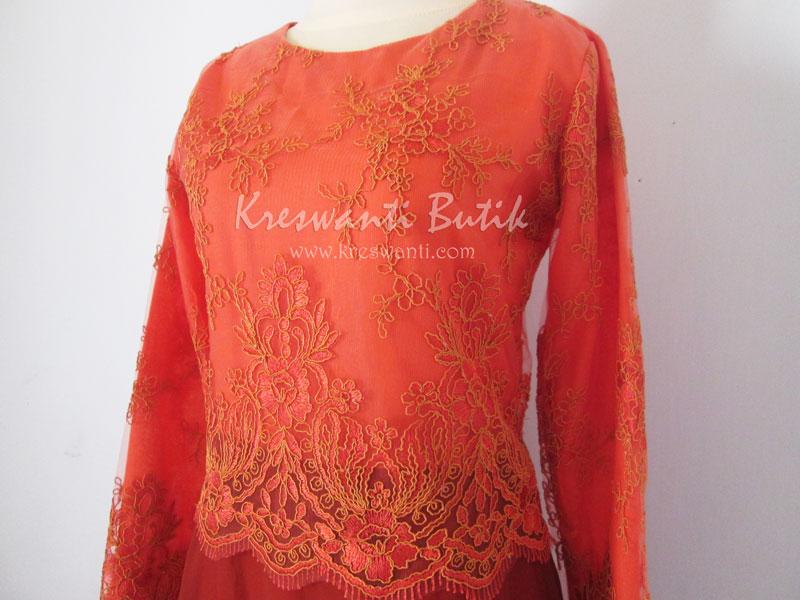 jual baju gamis modis gaun pesta pengantin muslimah modern orange2