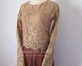 jual baju gamis modis gaun pesta pengantin muslimah modern brown2